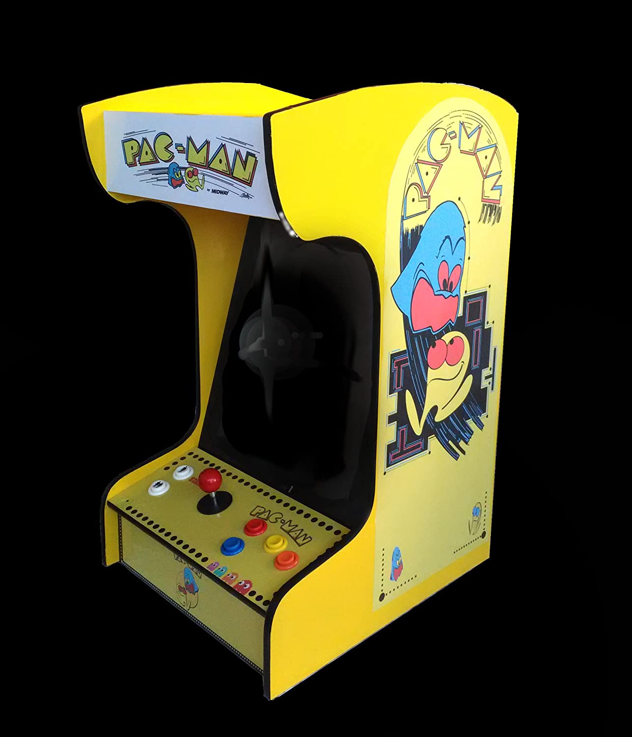 Doc and Pies Arcade Factory Classic Home Arcade Machine - Tabletop and Bartop - 412 Retro Games - Full Size LCD Screen, Buttons and Joystick - 2 Year Warranty (Yellow)