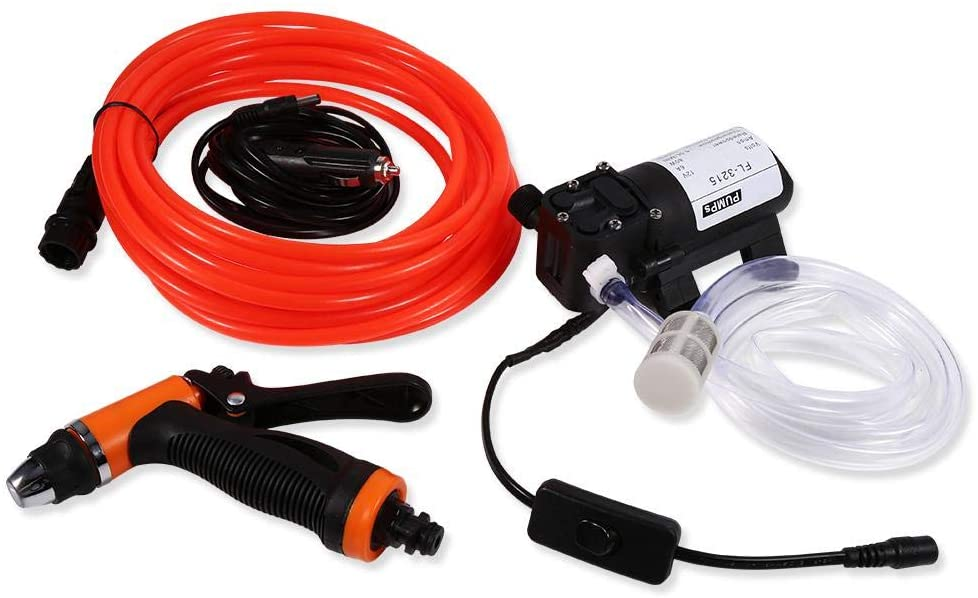 Car Washer Kit, 12V 80W 130PSI Portable High Pressure Electric Water Sprayer Gun Self-priming Water Pump Kit Quick Car Cleaning Tool