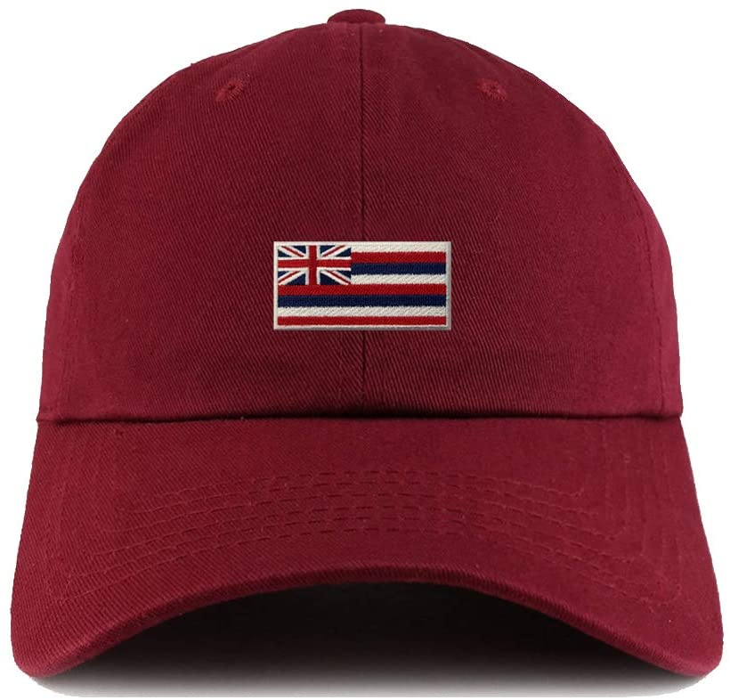 2 Pcs Dark Red Embroidered Hawaii State Flag Baseball Hats Dad Caps with Design Adjustable Hat Funny