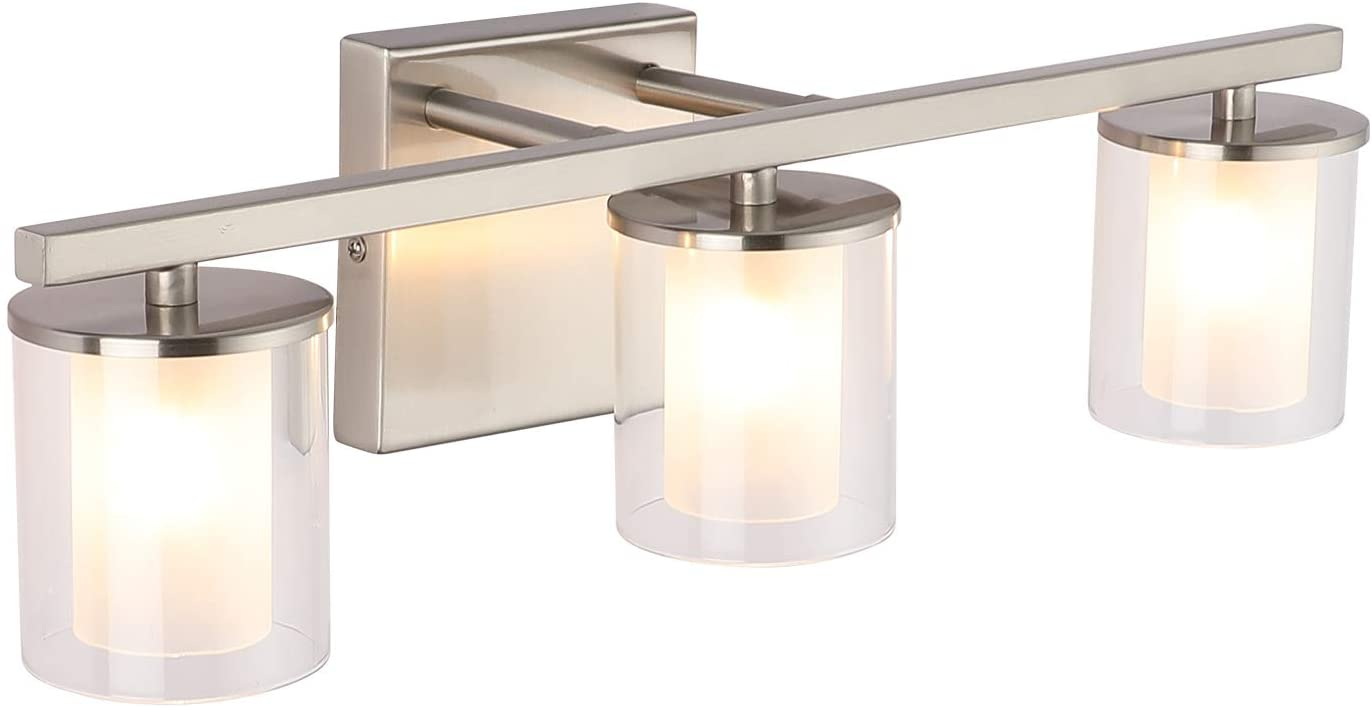 3-Light Glass Vanity Light Fixture Nickel,17.9 in Farmhouse Bathroom Lights Fixtures, Wall Sconces with Glass Shade, Modern Vintage Bath Wall Lamps for Mirror