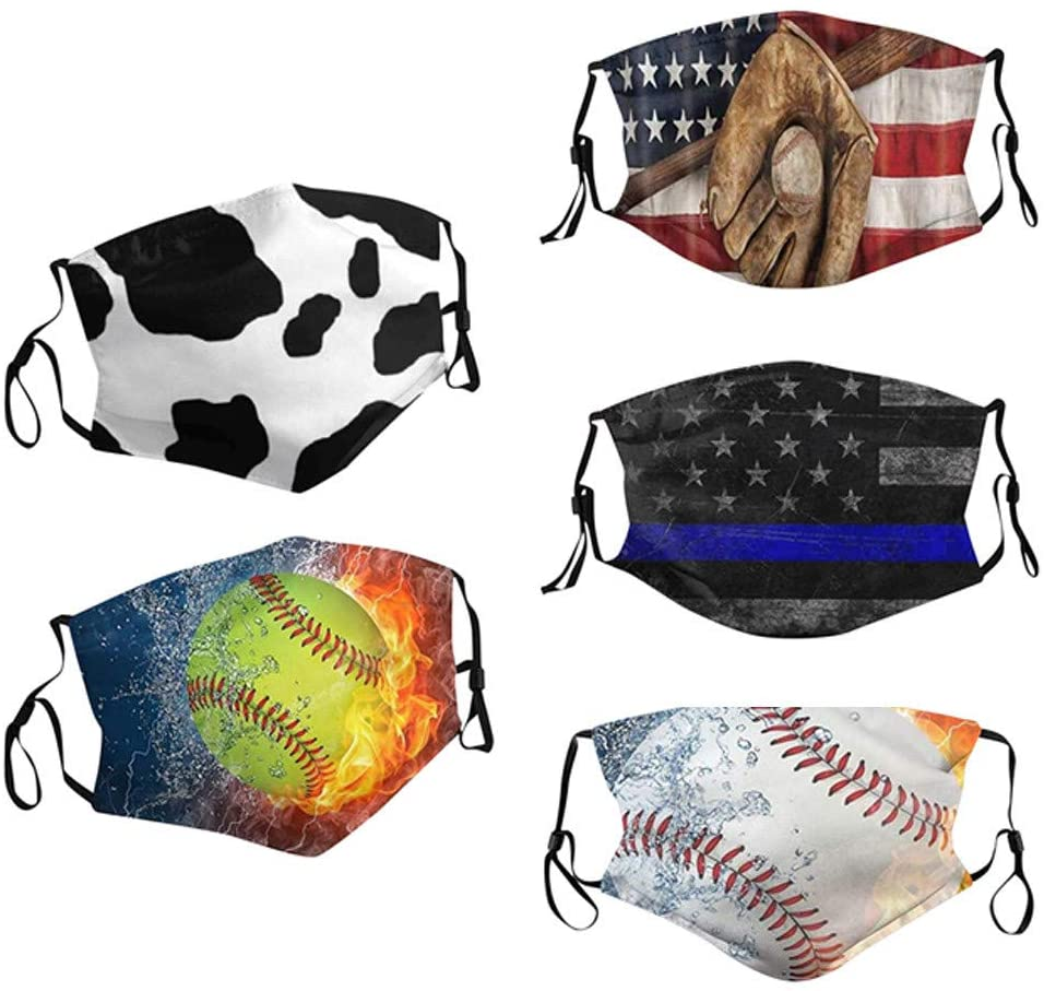 5pcs Fashion Men Women Reuse Outdoor Unisex Face_mask Face Coverings, Cute Print Breathable Washable Reusable Comfort Cloth Dust Protective with Adjustable Earloops
