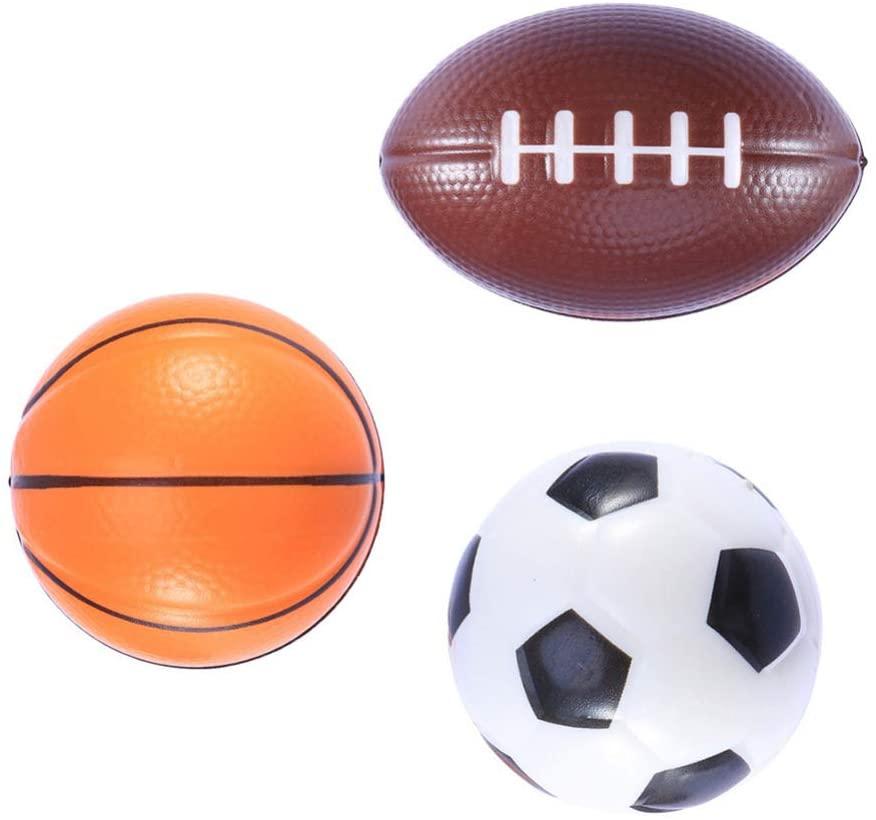 Garneck 3pcs Mini Soft Sport Balls Set PU Basketballs Soccer Football Toys Beach Sports Birthday Party Favor Gifts Kids Indoor Outdoor Lawn Toys