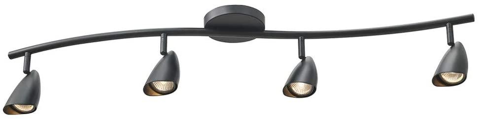 Globe Electric 59697 Grayson 4 S-Shape Track Lighting, Matte Black