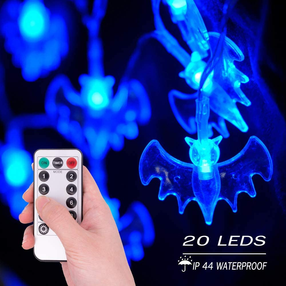 20LED Halloween Bats String Lights, 9.8ft Water Proof Battery Operated Halloween Outside Decoration Light with 8 Modes Indoor & Outdoor Decor for Halloween Party Holiday Christmas Decorations - Blue