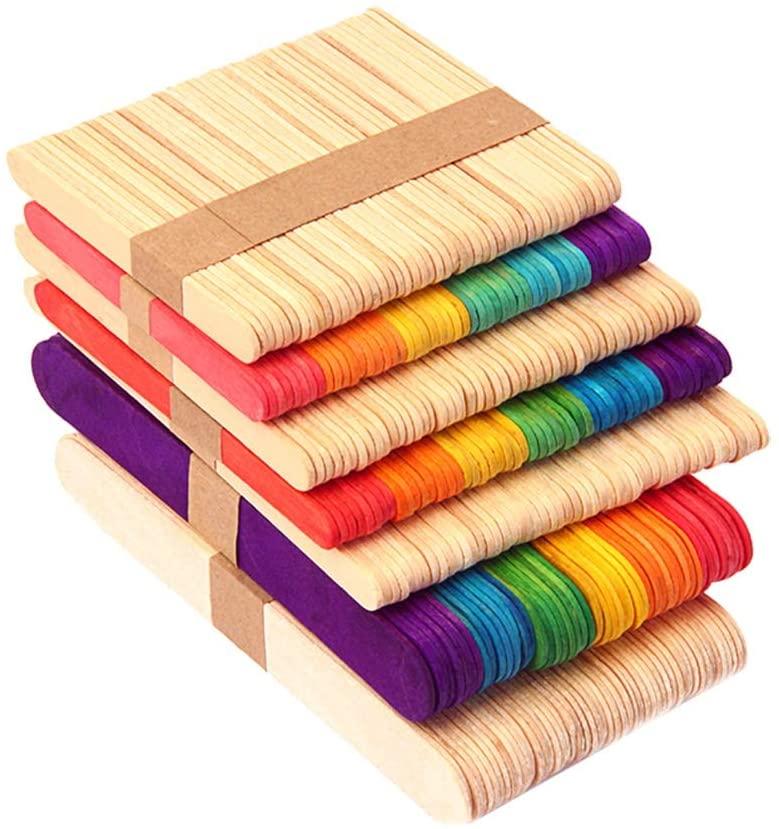 Toyvian 100PCS Kids DIY Toys Colored Wood Craft Sticks Popsicle Wood Craft Stick for DIY Crafts Creative Designs(50pcs Natural Color and 50pcs Colorful Sticks)