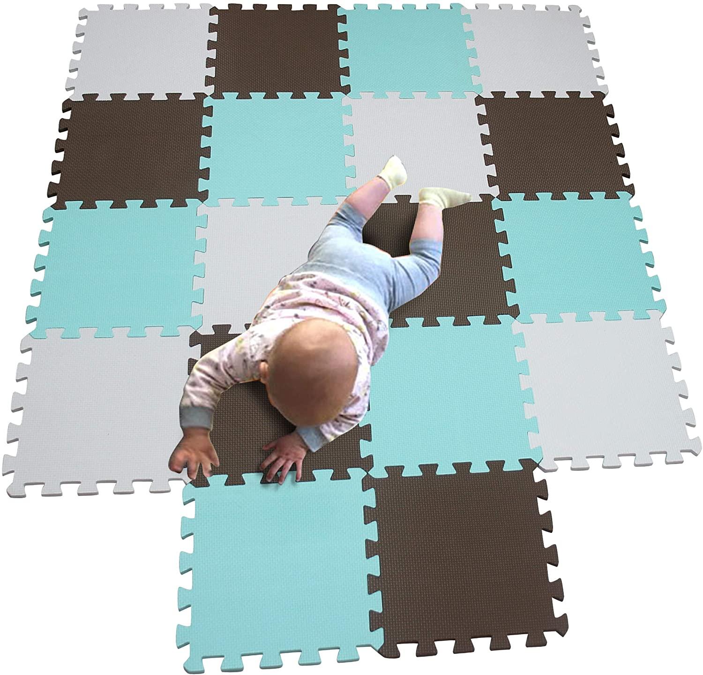 MQIAOHAM Children Puzzle mat Play mat Squares Play mat Tiles Baby mats for Floor Puzzle mat Soft Play mats Girl playmat Carpet Interlocking Foam Floor mats for Baby White Coffee Green 101106108
