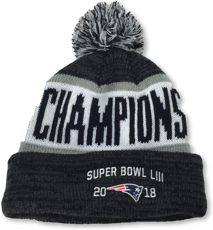 NFL Team Apparel New England Patriots 2018 Super Bowl LIII Champions Adult Pom Cuff Beanie Knit