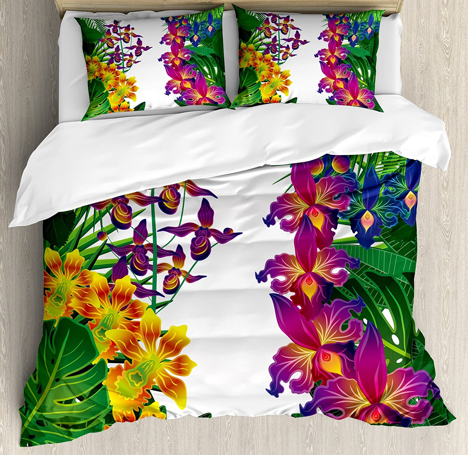 Ambesonne Leaf Duvet Cover Set, Flower Kahili Ginger Bamboo and Orchid Vivid Colored Tropic Accents, Decorative 3 Piece Bedding Set with 2 Pillow Shams, Queen Size, Green Purple