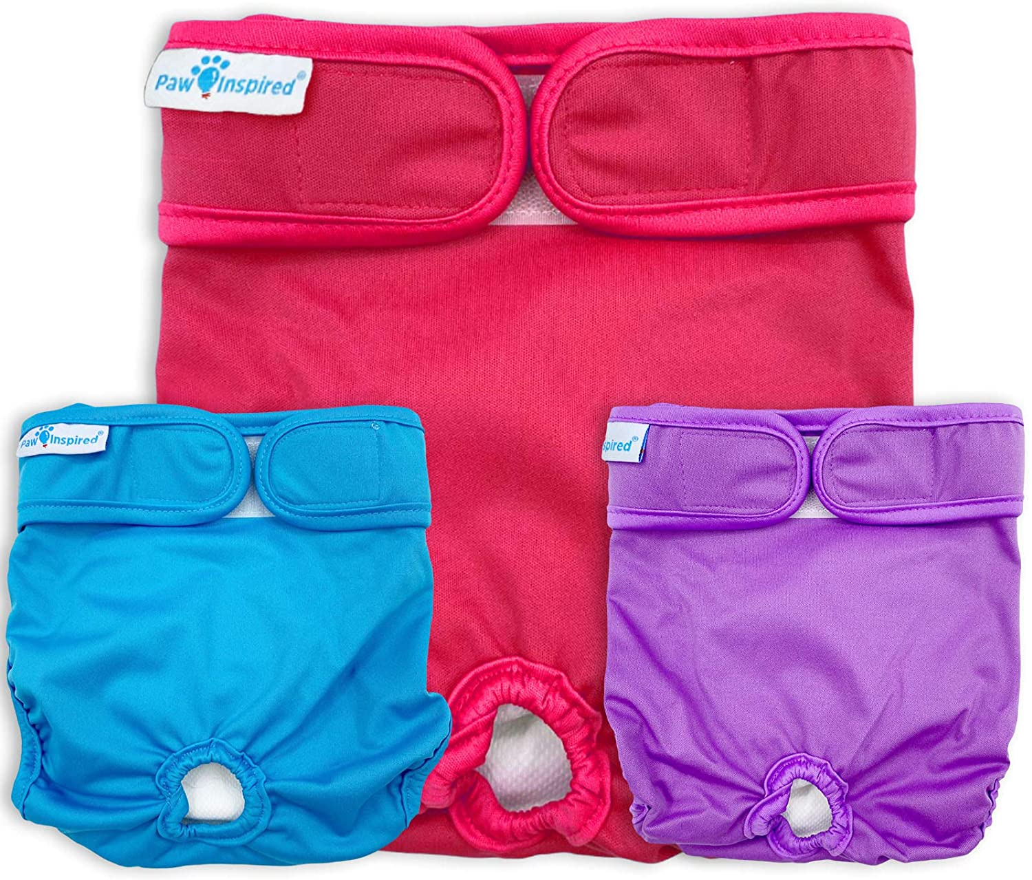 Paw Inspired Washable Dog Diapers | Reusable Dog Diapers | Washable Female Dog Diapers | Cloth Dog Diapers for Dogs in Heat, or Dog Incontinence Diapers