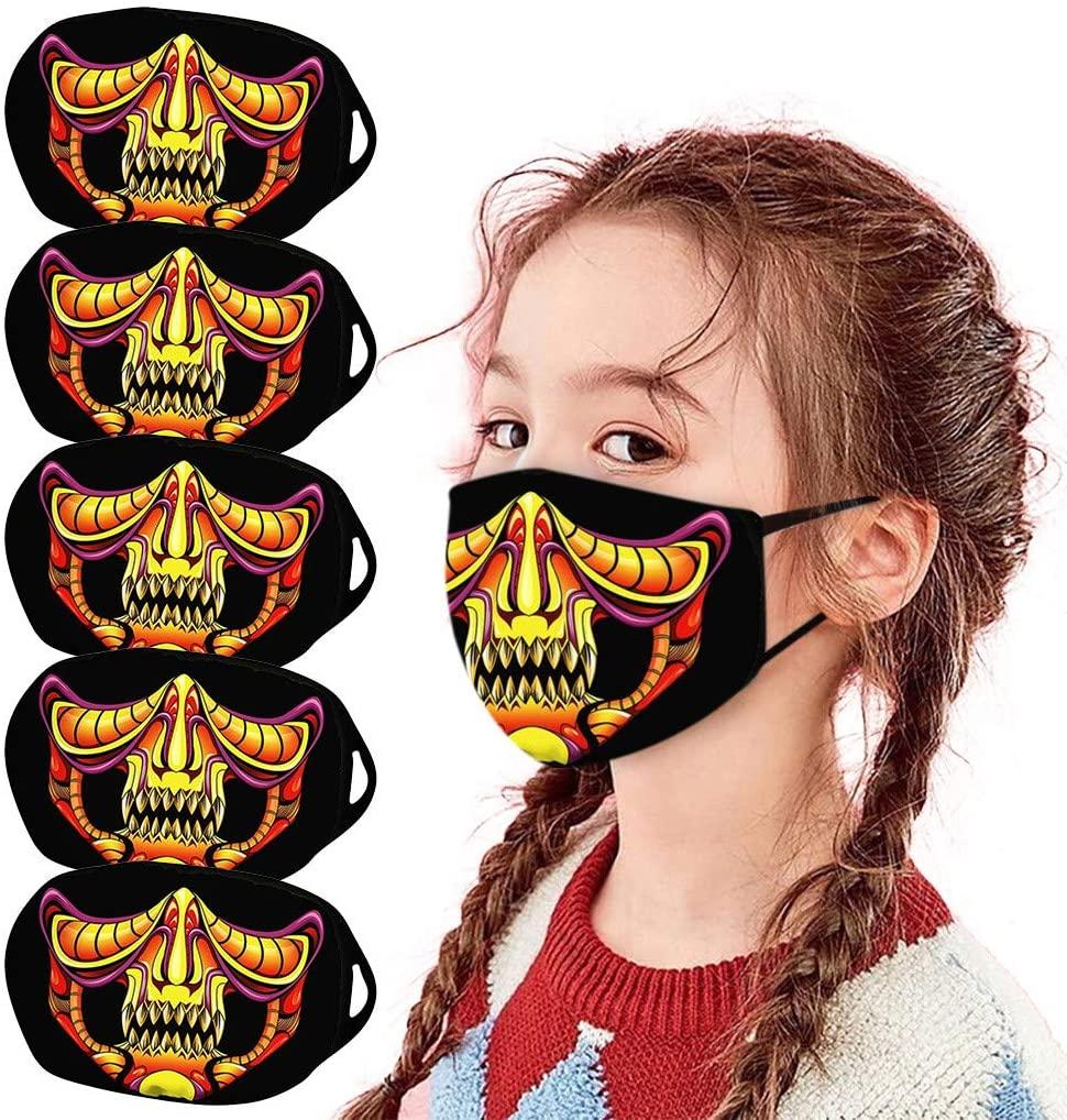 Halloween Cloth Face bandana for Kids - Halloween Atmosphere Horrible Cartoon Printed Dust-proof - Safe for Boys Girls Outdoor School Halloween 5 PCs(Vivid )