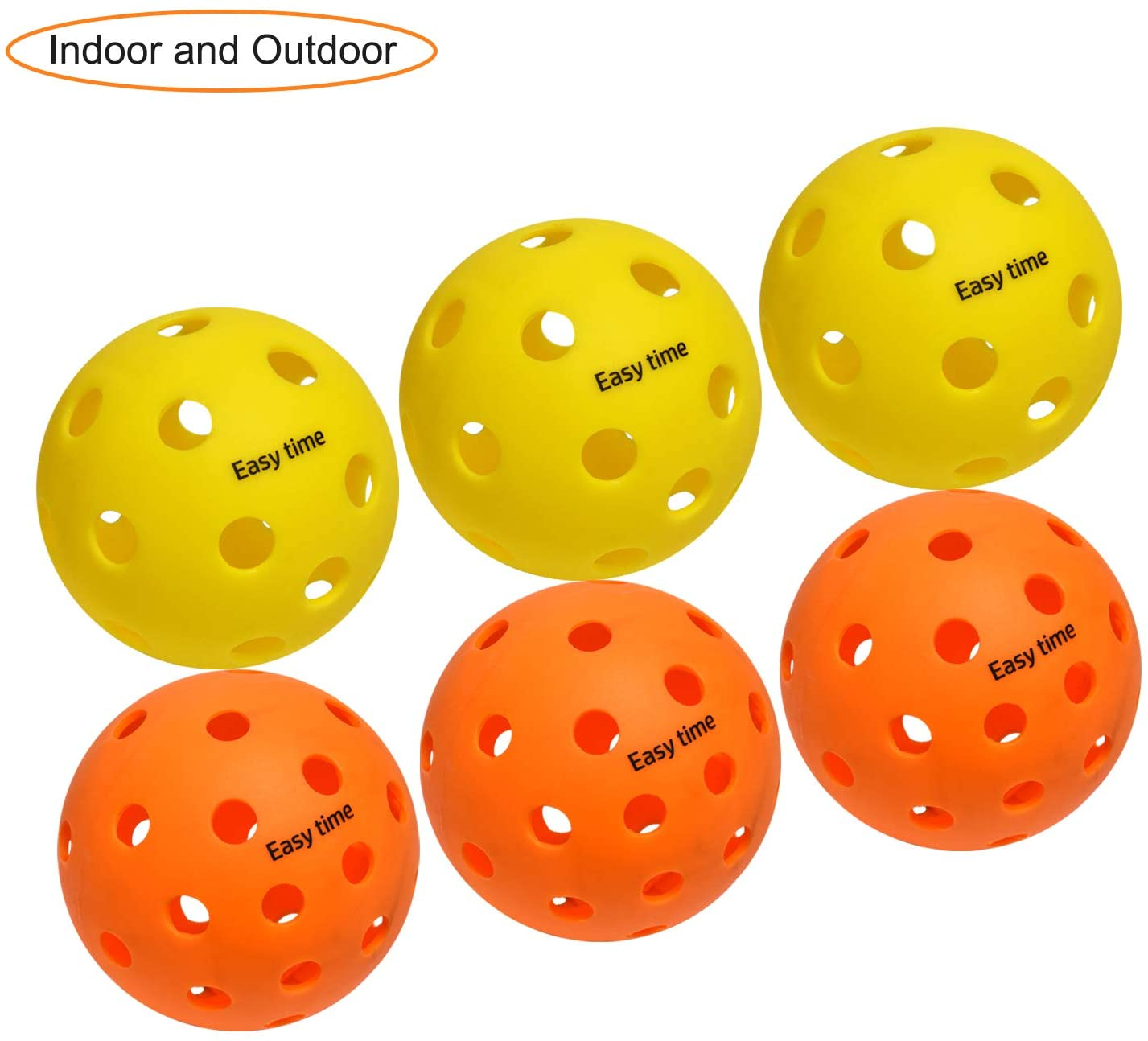 EasyTime Outdoor and Indoor Pickleball Balls, Specifically Optimized Design Pickleball Balls, Flight Trajectory is Stable, High Elasticity Yellow for Indoor Ball and Orange for Outdoor Ball