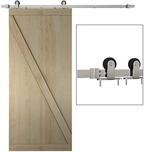 JUBEST 6.6ft 1 Rail Satin Nickel Brushed Steel Sliding Barn Door Hardware Track Set