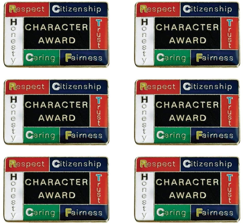 TCDesignerProducts Character Award Blocks Award Pins, Student Awards, Pack of 6