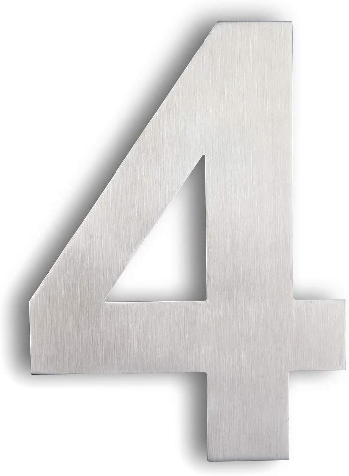 Mellewell Floating House Numbers, Large 8 Inch, Stainless Steel 18-8 Brushed Nickel, Number 4 Four