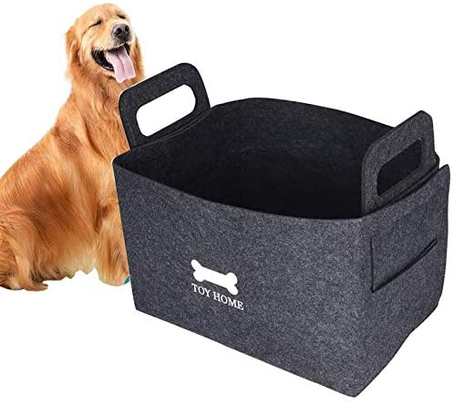 GZDDG Dog Toys Storage Bins, Pet Toy and Accessory Storage Basket, Foldable Pet Storage Basket Felt Storage Box Children Toy Storage Organize for Pet Toys, Blankets, Leashes and Dog Food