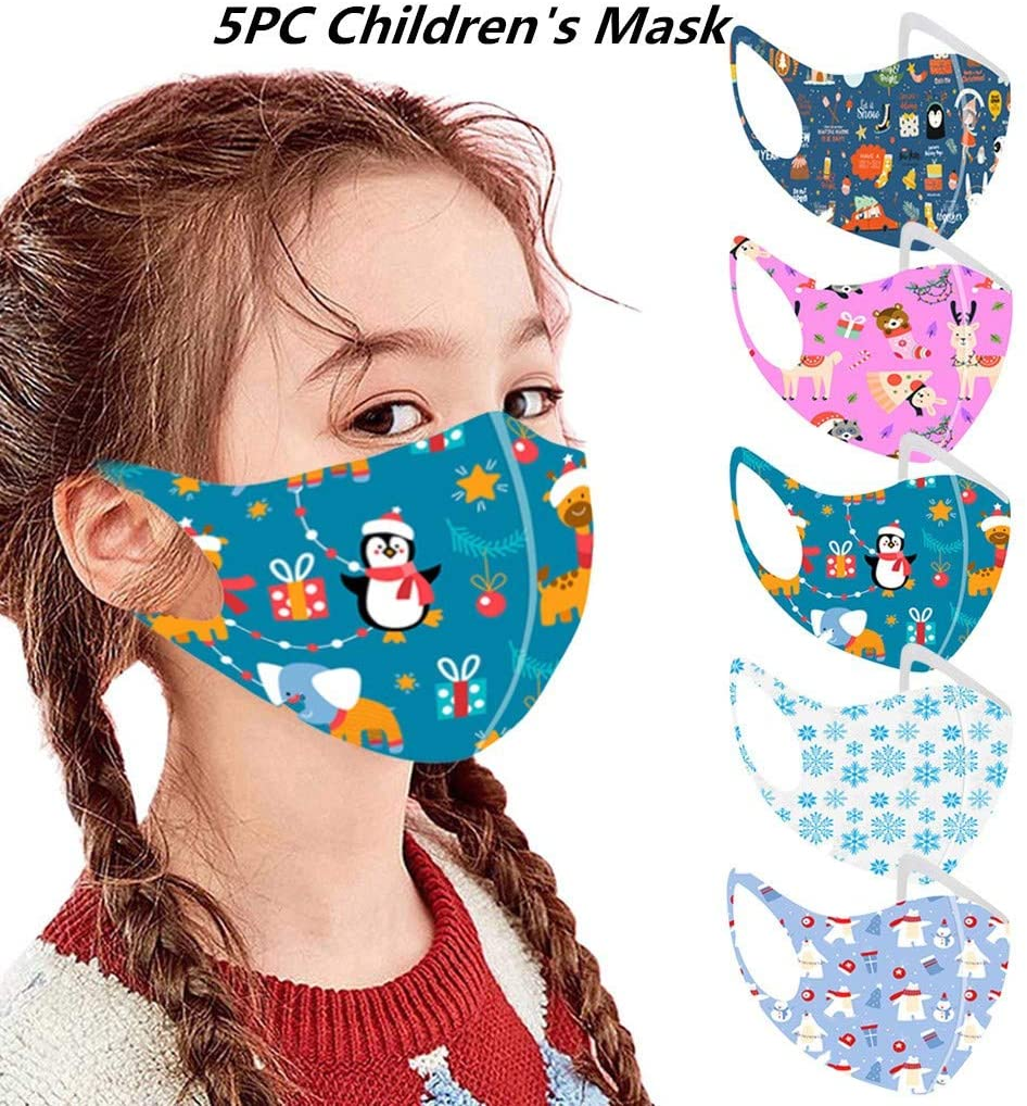 ShaggyDogz 5PCS Kids Cute Christmas Pattern Washable Reusable Bandanas Childrens Boys Girls Comfortable Costume Outdoor Halloween Daily Wear