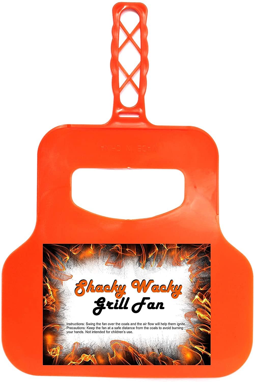 Hand Grill Fan Charcoal Starter - BBQ Fan Fire Starters for Grill - Charcoal Grill Accessory Orange
