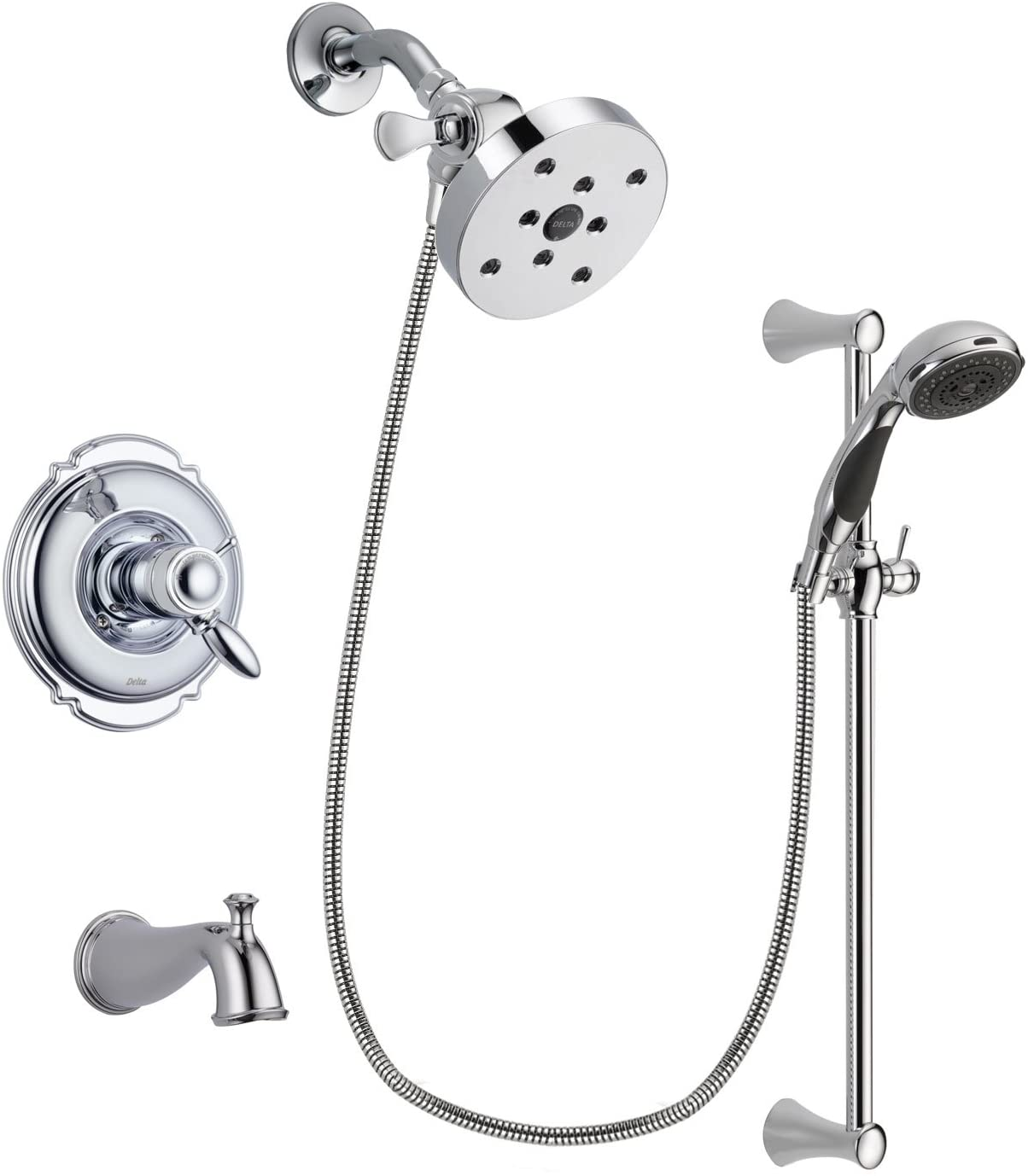 Delta Victorian Chrome Thermostatic Tub and Shower Faucet System with 5-1/2 inch Shower Head and 5-Spray Slide Bar with Personal Handheld Shower Includes Rough-in Valve and Tub Spout DSP0801V