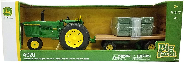 TOMY John Deere Big Farm 4020 Tractor with Hay Wagon & Bales (1:16 Scale)