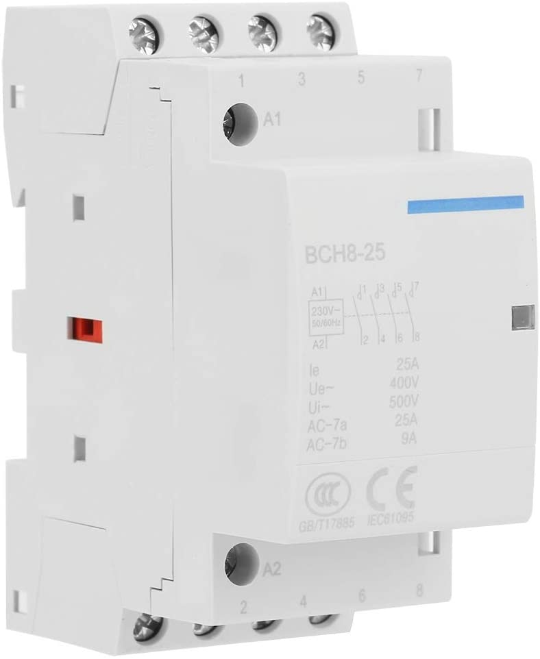 Yunnyp Household AC Contactor,4P 25A Household AC Contactor DIN Rail Mount 2NO 2NC (AC 230V 24V)