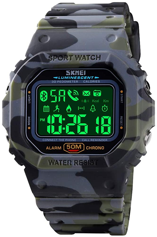SKMEI Digital Watch for Men, Waterproof Military Wrist Watches with Pedometer Calorie Chronograph Call SMS Reminder LED Backlight Running Sport Watches for Men