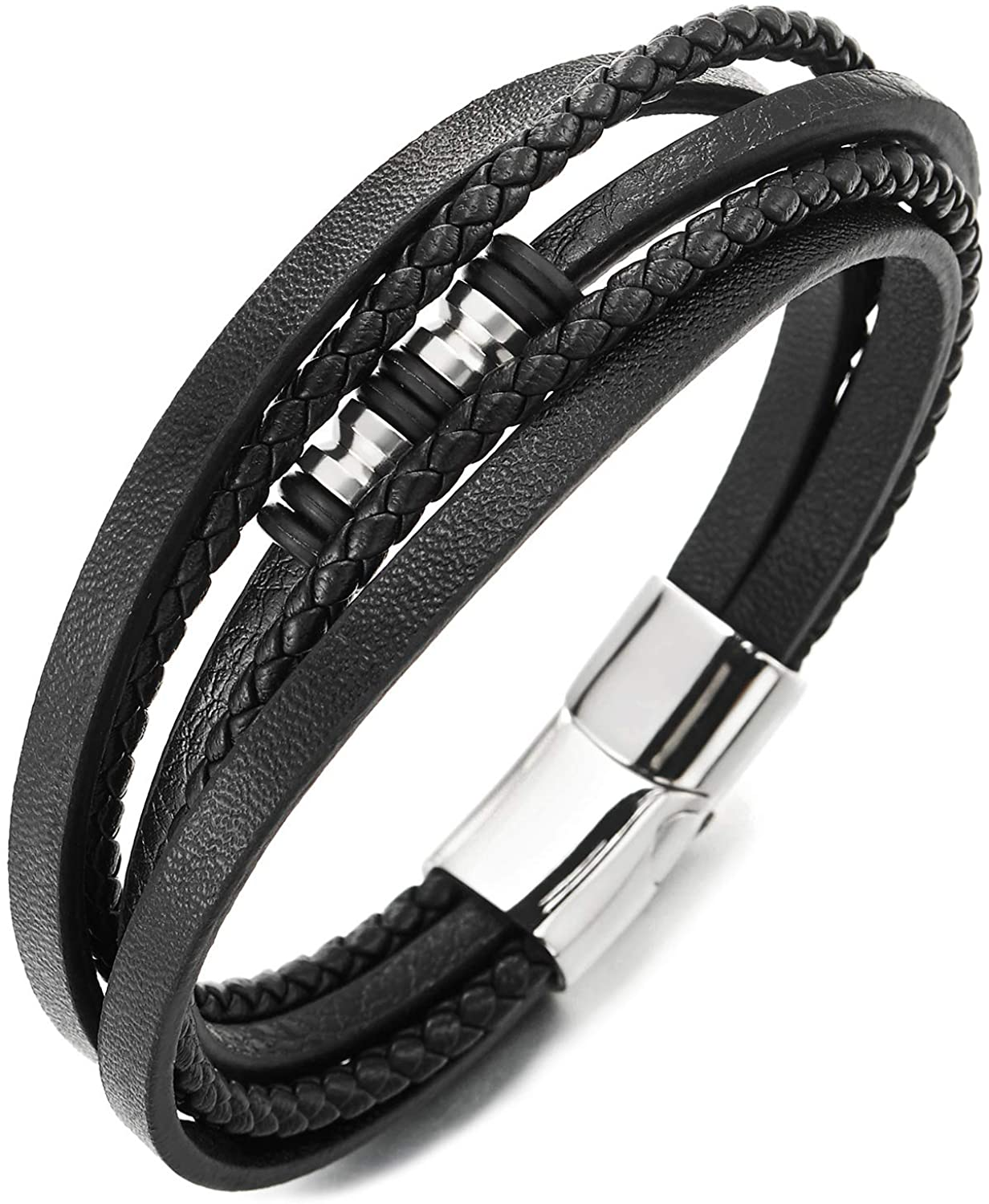 COOLSTEELANDBEYOND Mens Women Multi-Strand Black Braided Leather Bracelet Bangle with Steel Silver Bead Charms