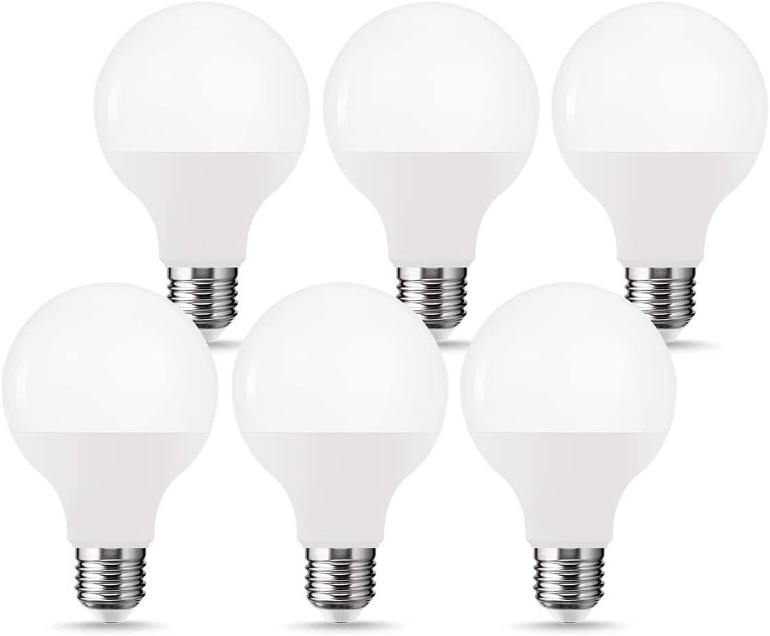 TGMOLD Globe LED Light Bulbs, G25 LED 60W-80W Equivalent(12W), Soft White 3000K Vanity Light, E26 Medium Screw Base Bulb, High Brightness 1000LM Vanity Makeup Mirror Lights for Bathroom, 6Pack