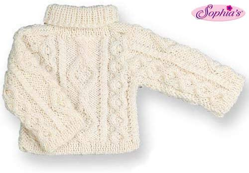 Sophia's Irish Cable Knit Doll Sweater, Fits 18 Inch American Girl Dolls