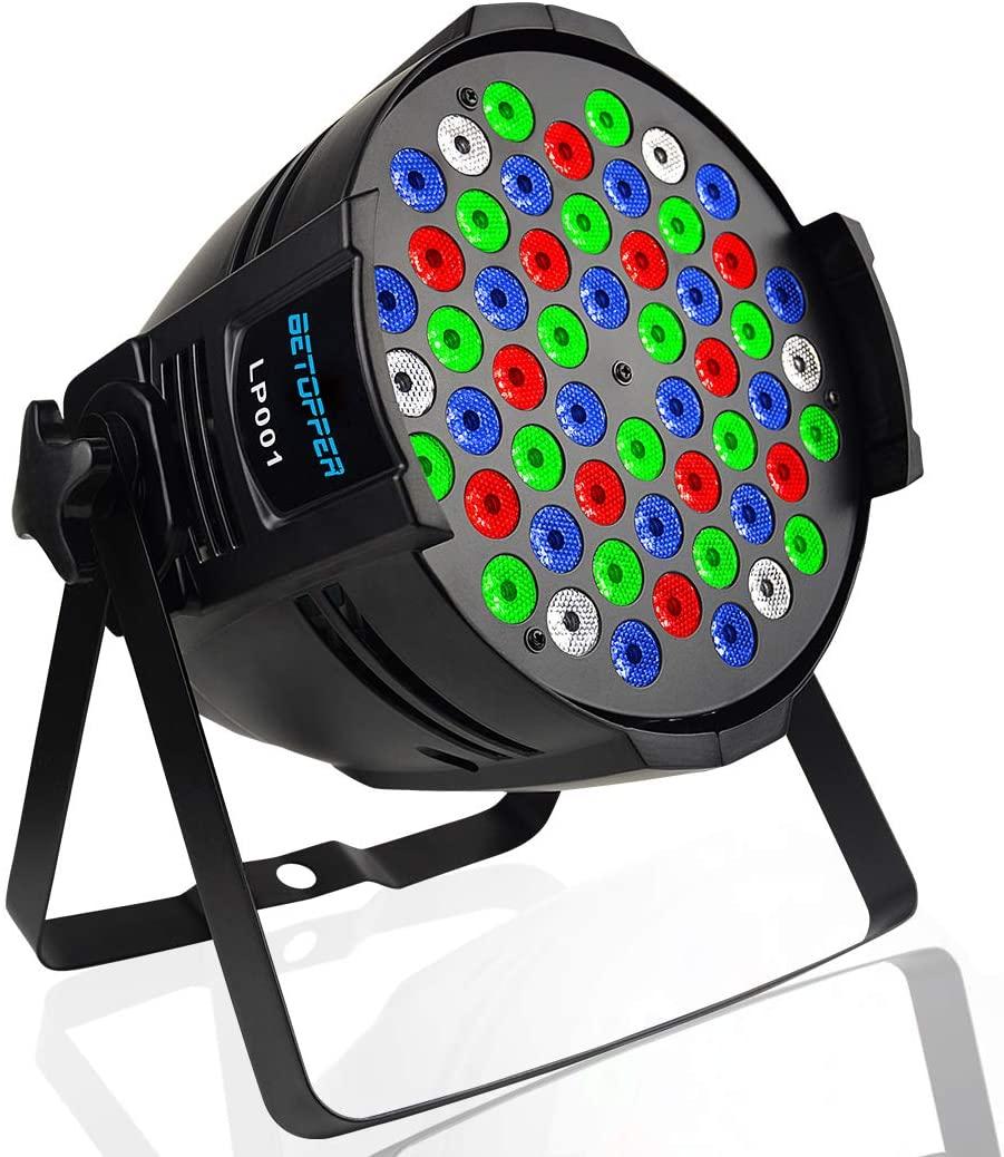 BETOPPER Par Lights 54X3W LED DJ PAR Stage Light RGBW 162Watt DMX 512 Stage Lighting Disco Projector for Home Wedding Party Church Concert Dance Floor Lighting