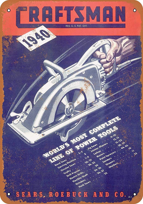 Wall-Color 9 x 12 Metal Sign - 1940 Craftsman Power Tools - Vintage Look