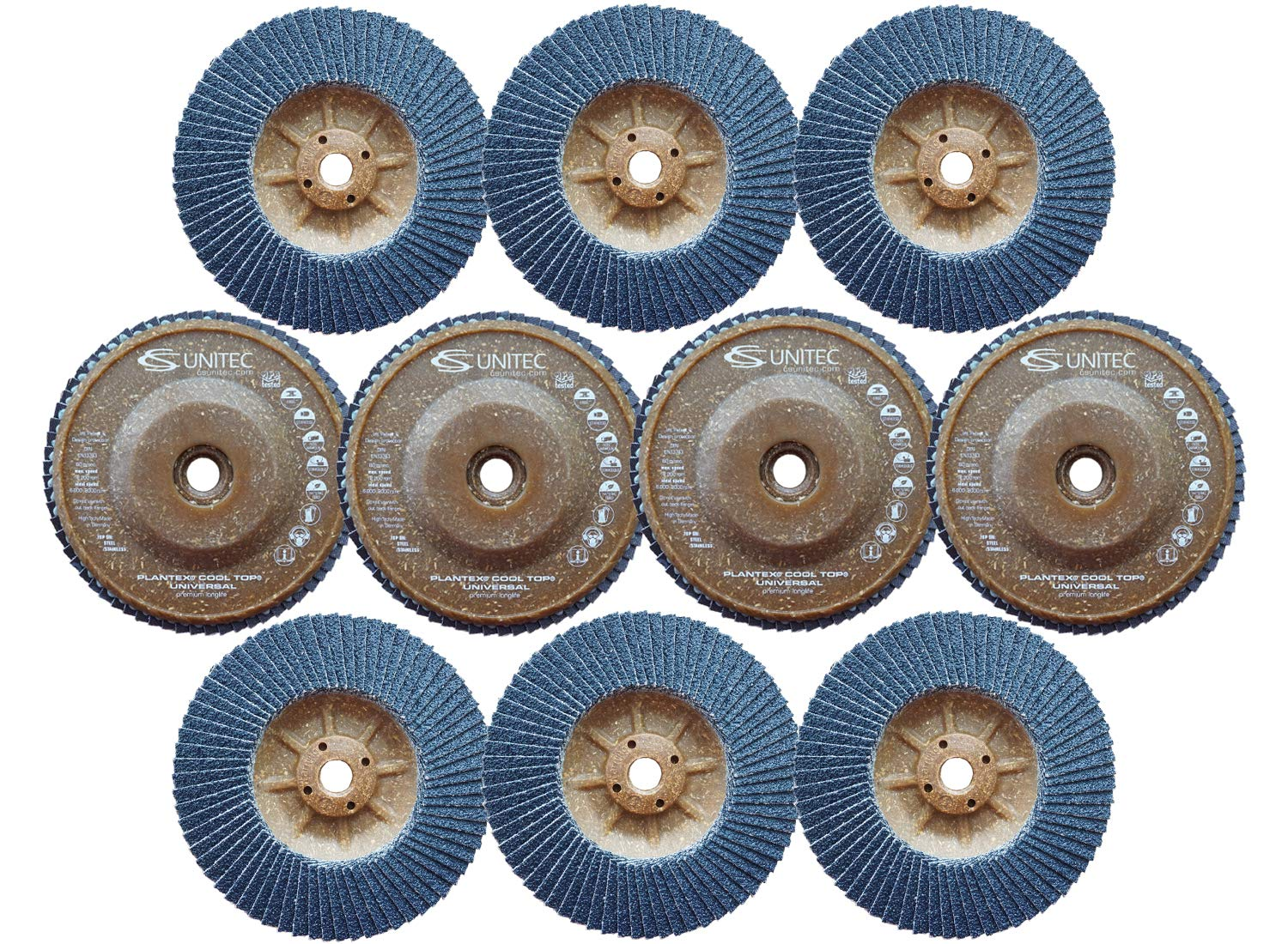 CS Unitec PLANTEX Universal Trimmable Flap Discs with Hemp Backing - 120 Grit, 5 in. 5/8-11 Arbor, [Pack of 10] - Made in Germany (93579) - for Steel & Stainless Steel Metal Deburring/Finishing