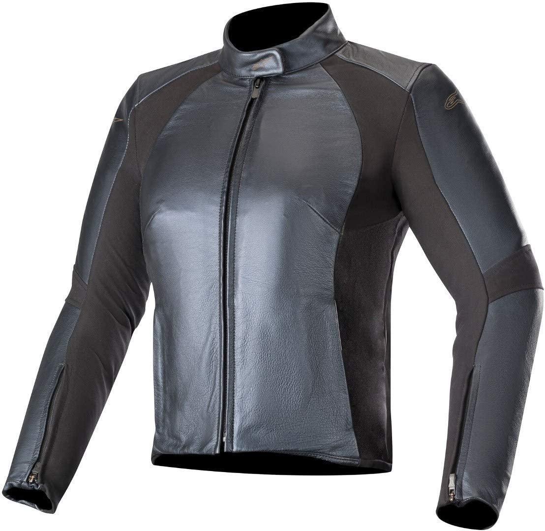 Alpinestars Vika V2 Women's Leather Motorcycle Jacket, Metallic Blue, 38