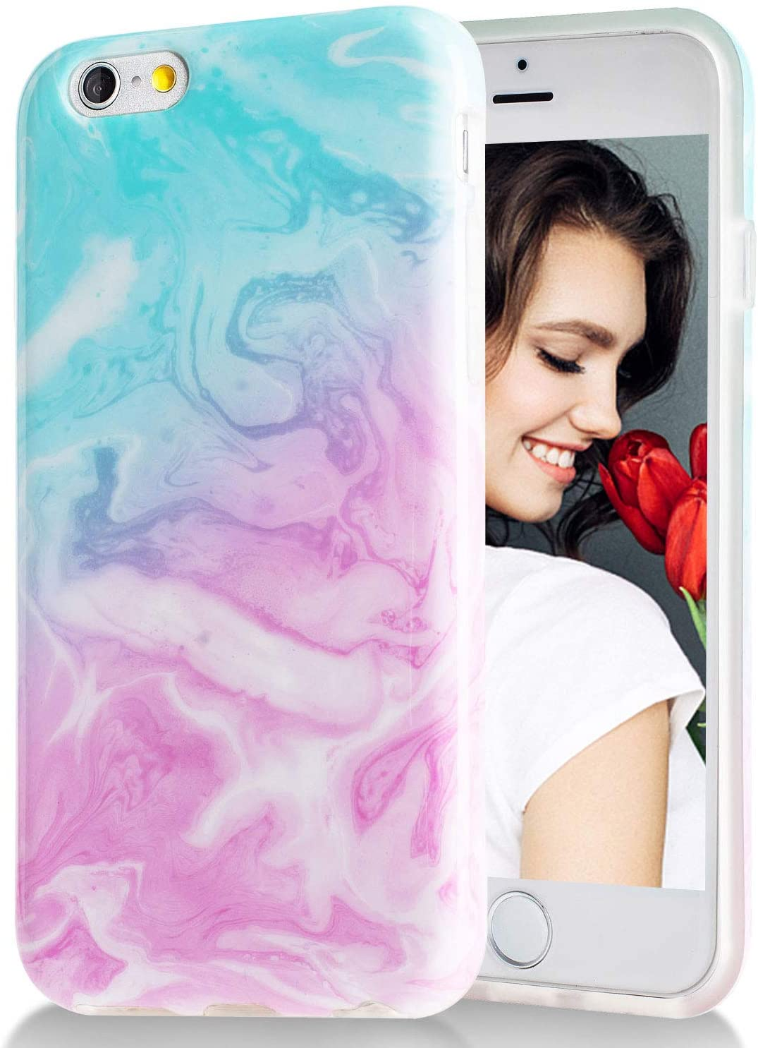 iPhone 6 Case,iPhone 6s Case Green Pink Marble,Slim Soft Flexible TPU Marble Pattern Cover for Apple iPhone 6/6s