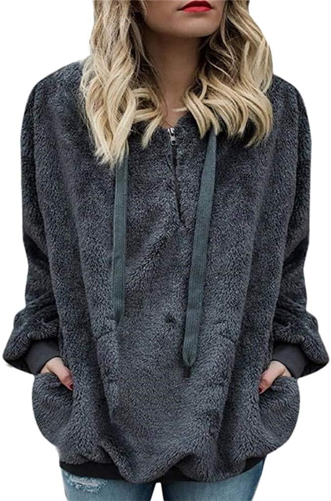 Fudule Women Hoodie Fuzzy Pullover Sweatshirt 1/4 Zipper Soft Comfy Fleece Sherpa Pullover Sweaters Outwear with Pockets
