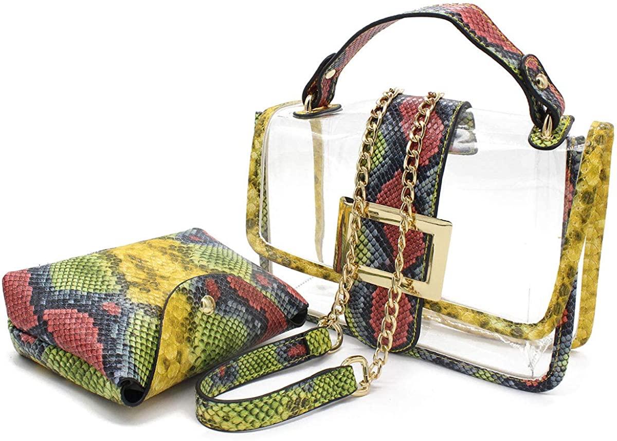 2 Pcs Snakeskin Shoulder Bag Clear Handbag Stadium Approved Messenger Bag Mini Tote for PGA NFL NCAA