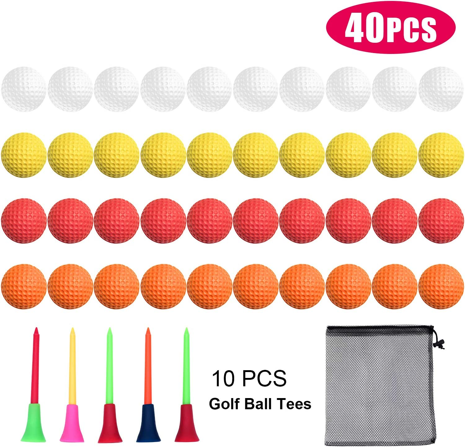 Bac-kitchen 40 Pack Foam Golf Practice Balls - Realistic Feel and Limited Flight Training Balls for Indoor or Outdoor