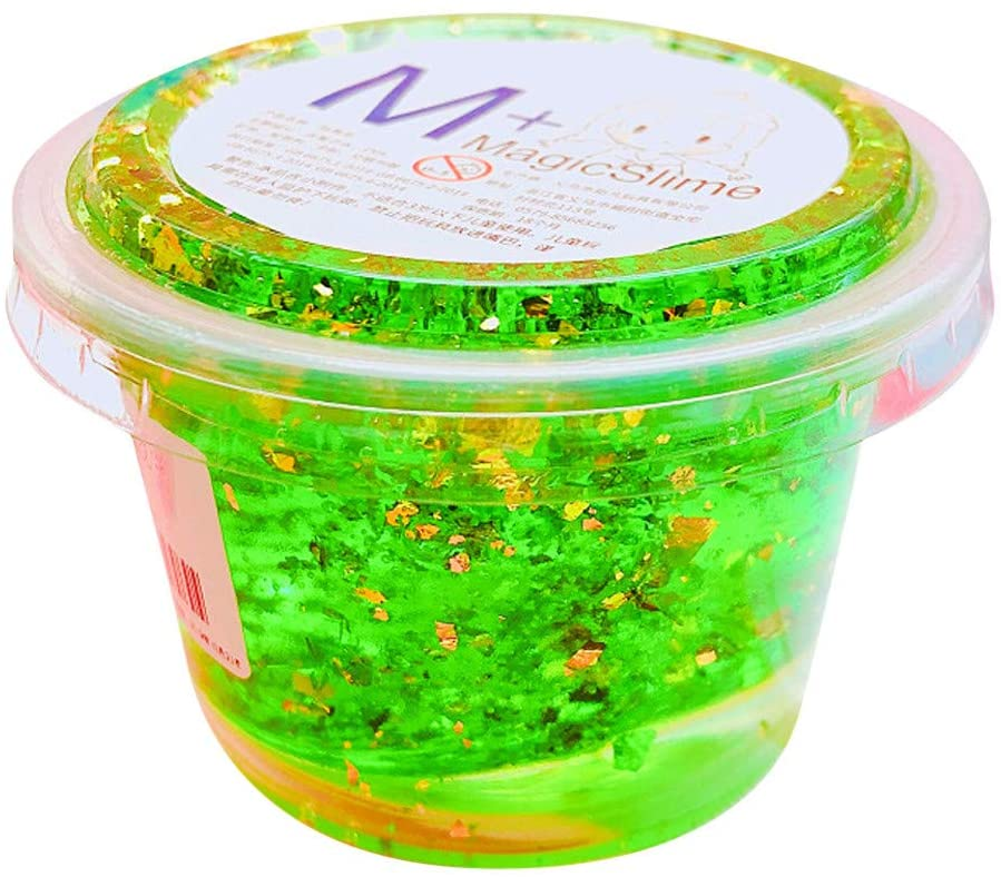 Crystal Slime, Crystal Gold Leaf Stardust Slime Mud Sludge Super Soft Non-Sticky Stress Relief Toy for Kids Adults Boys Girls