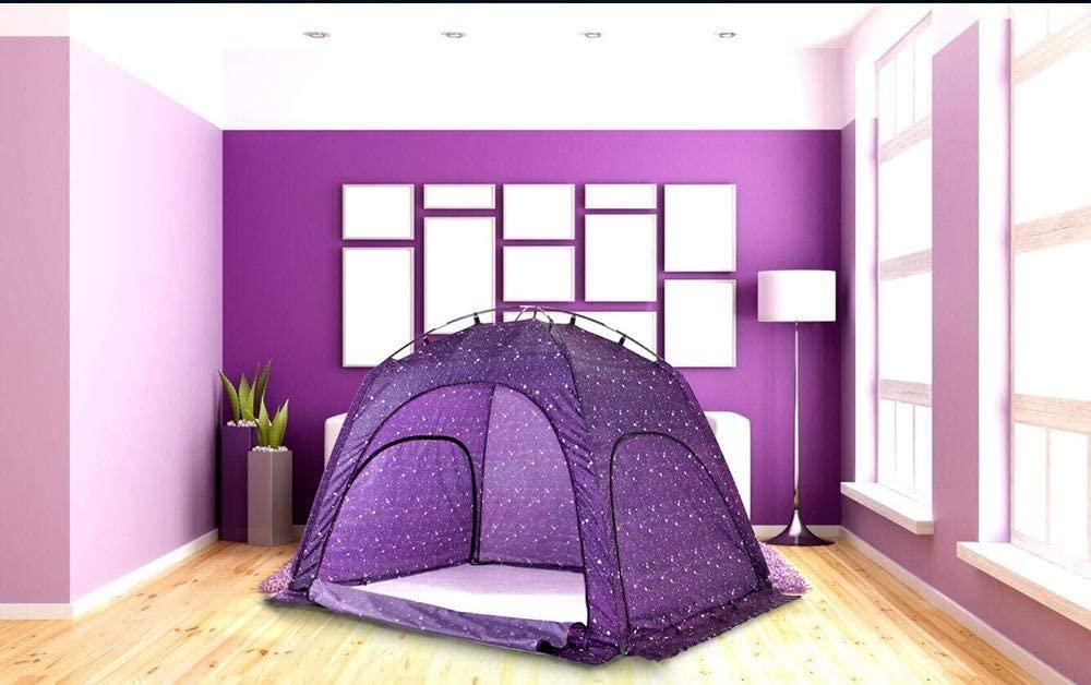 Miyaya Indoor Privacy Play Tent on Bed,Warm and Cozy Sleep BedTent (Starlight,Purple)