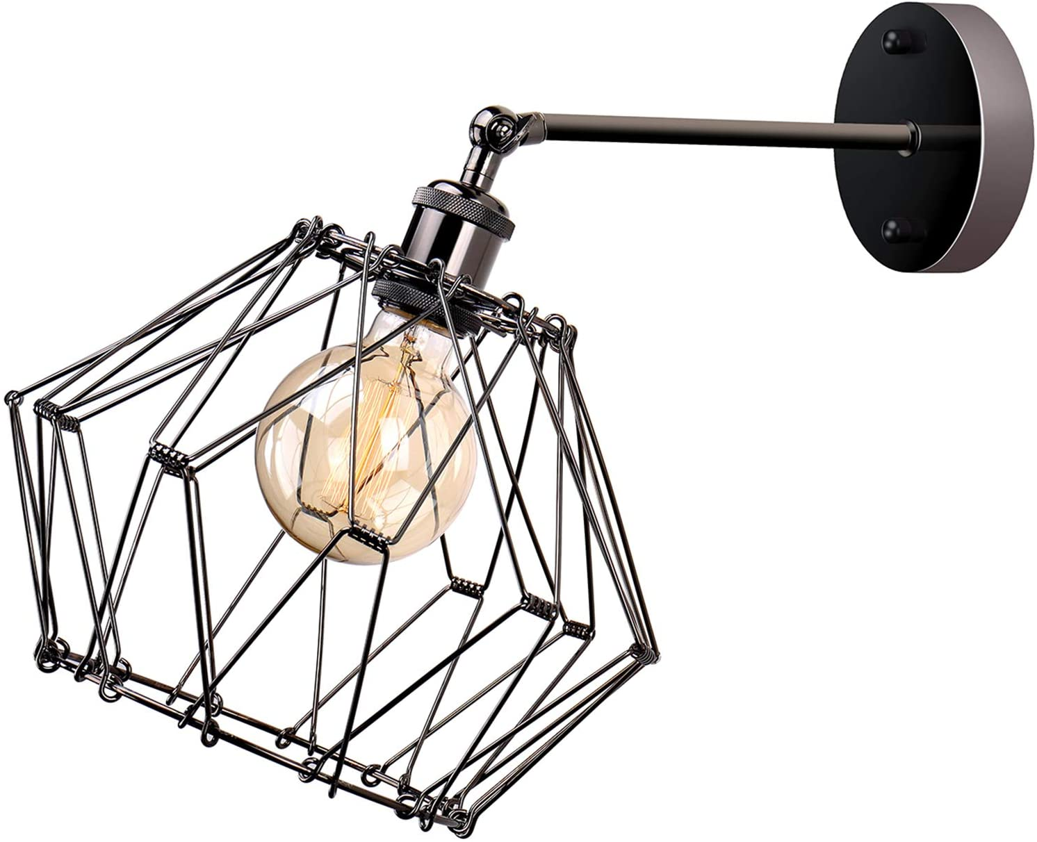 JIGUOOR Wire Cage Wall Sconce, Industrial Vintage Style Adjustable Shape Metal Lamp Guard Cage, Rustic Wall Lights Fixture for Home Decor, Bedroom, Farmhouse, Porch, Garage (1 Layer)
