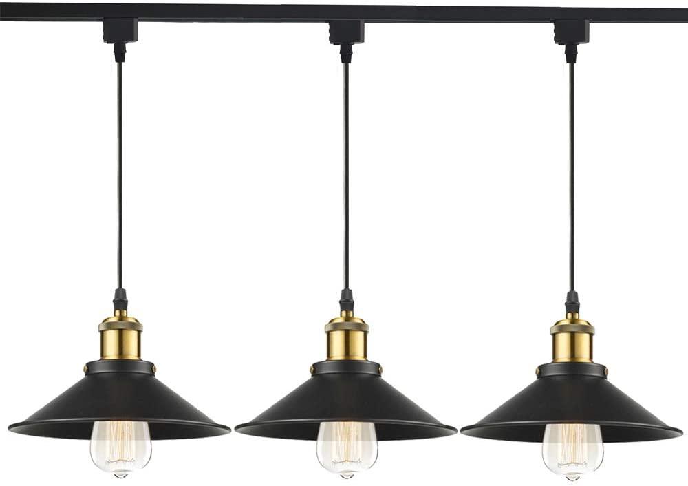STGLIGHTING J-Type Track Light Pendants 2.5 Feet Cord Restaurant Chandelier Decorative Instant Pendant Light Industrial Factory Pendant Lamp Bulb Not Included Customizable Track Lighting 3-Pack