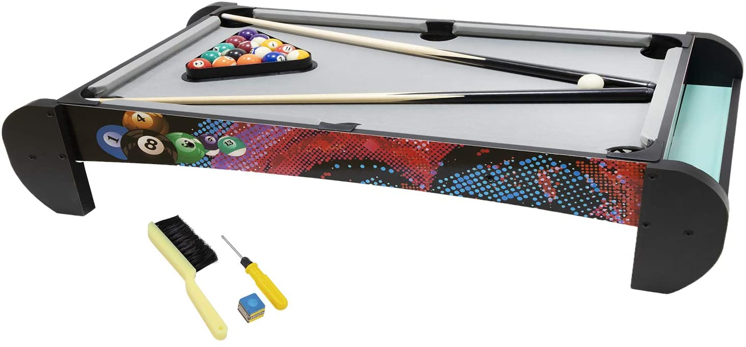 Pool Table - Billiard Table Set with Pool Cues + Billiard Balls + Table Brush + Cue Chalk + Triangle Rack, Quick Set up Table Game for Kids and Adults, Play Anywhere