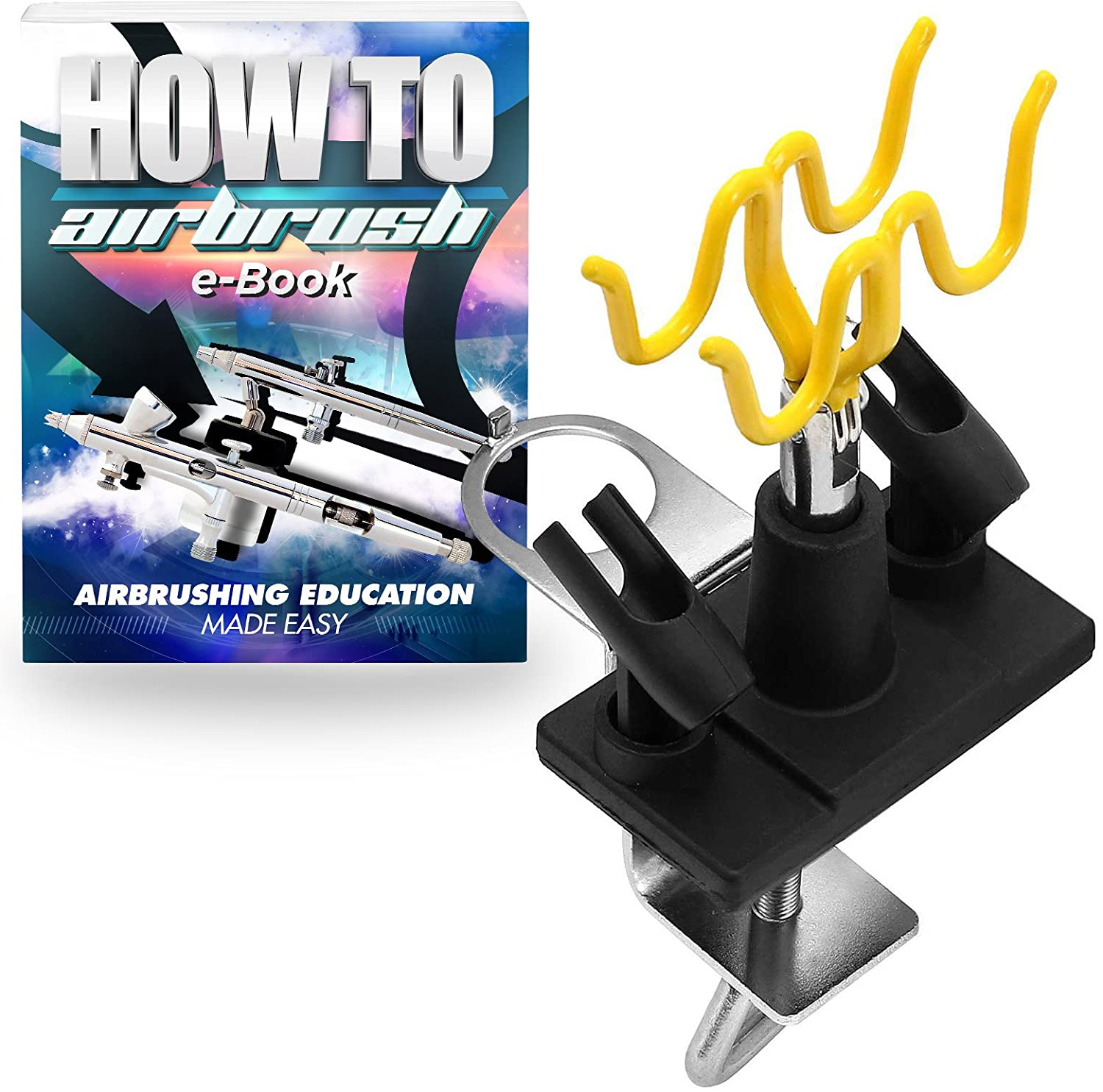 PointZero Clamp-on Stand Table-Mount Four Airbrush Holder Station