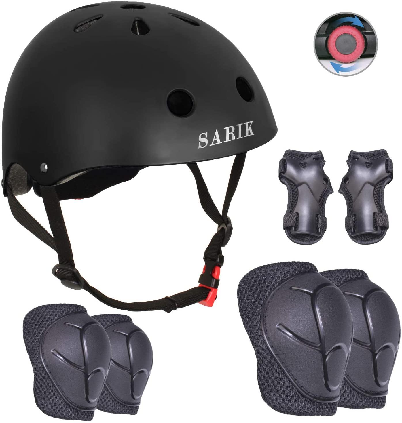 Sarik Kids Bike Helmet Knee Elbow Pads Wrist Guard for Ages 3-8 Years Toddler Boys Girls Helmet Sport Protective Gear Adjustable Scooter Skateboard Rollerblading Skate Cycling Safety Set