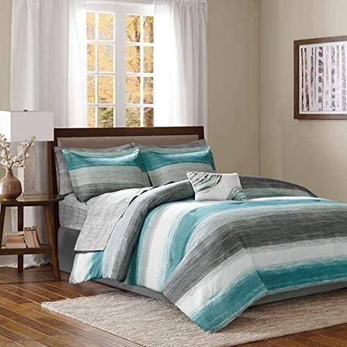 Aqua Blue Grey Watercolor Cottage Beach House Coastal Queen Comforter Set (9 Piece Bed in A Bag) + Homemade Wax Melts