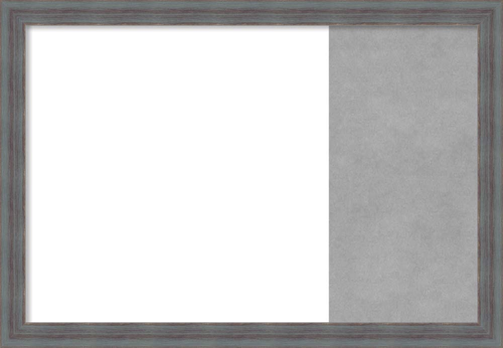 Framed Dry Erase and Magnetic Board Combo   Dry Erase Boards and Cork Boards   Multifunctional Combo Boards   Dixie Blue Grey Rustic Frame   29.25 x 20.25 in.