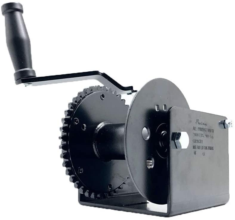 Worm Gear Puller Hand Winch with Manual Brake and Sidewind Handle - Electrostatic Powder Coated Finish