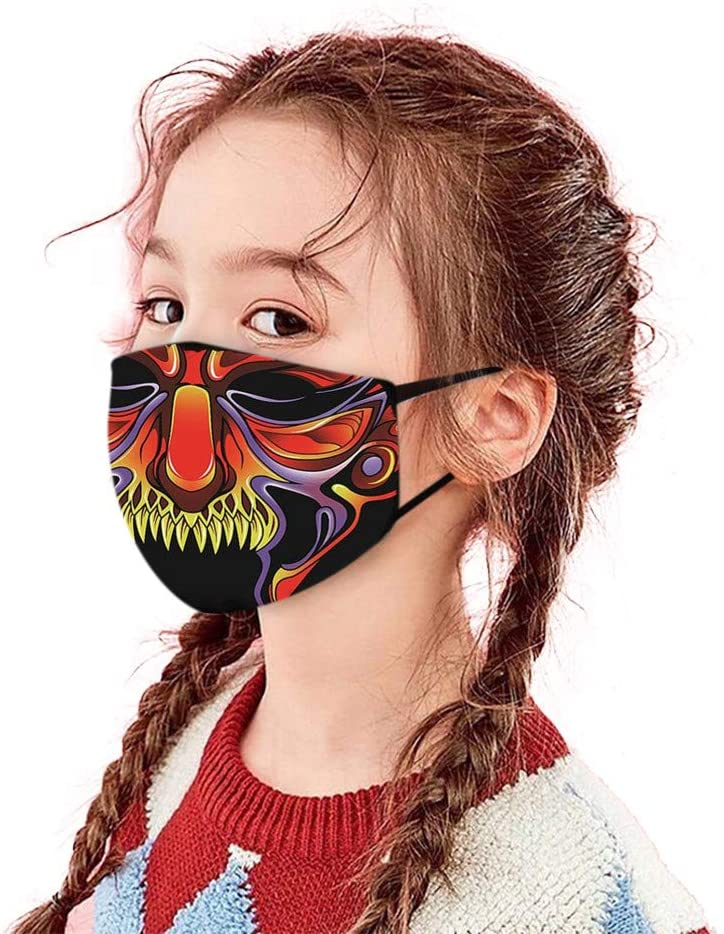 Halloween Cloth Face bandana for Kids - Halloween Atmosphere Horrible Cartoon Printed Dust-proof - Safe for Boys Girls Outdoor School Halloween 1 PCs(Scary)