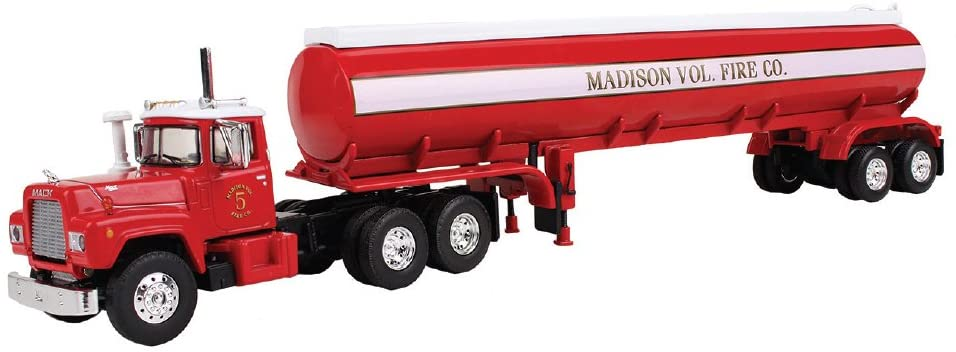 First Gear 1/64 Scale Diecast Collectible Madison Vol. Fire Co. Mack R with 42' Water Tank Trailer (#60-0289)