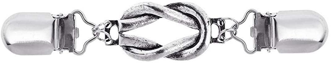 GLOA Brooch Pin, Vintage Women Twist Ring Cardigan Sweater Collar Clip Dress Shawl Clasp Pin - Silver