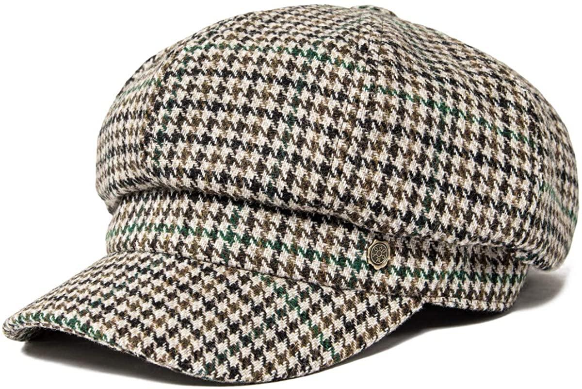 VOBOOM 8 Panel Wool Tweed Newsboy Gatsby Ivy Cap Golf Cabbie Driving Hat